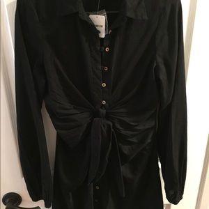 Free People Dresses - Free People black long sleeve tie waist dress